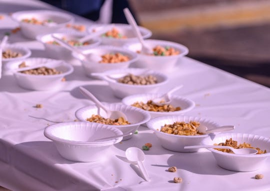 Bowls of cereal waiting for hungry eaters during the 2019 National Cereal Festival in downtown Battle Creek on Saturday, June 8, 2019.