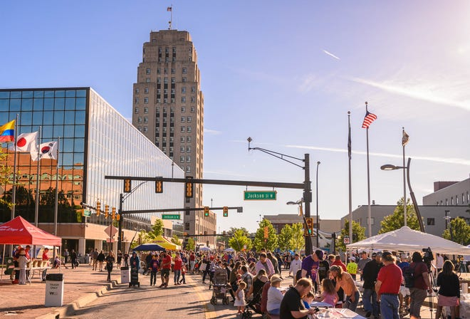 A large crowd enjoys the 2019 National Cereal Festival in downtown Battle Creek on June 8, 2019, the last event that was held. Officials announced the 2021 festival is canceled because of the ongoing coronavirus pandemic, but plans are to resume in 2022.