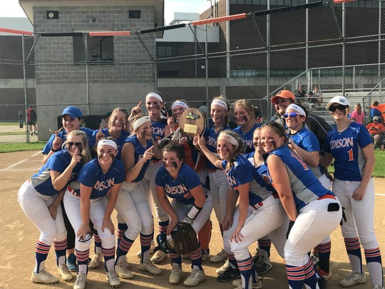 Thomas A. Edison players pose with their regional plaque after defeating Pulaski, 3-0 in a Class C state quarterfinal Friday at Union-Endicott.