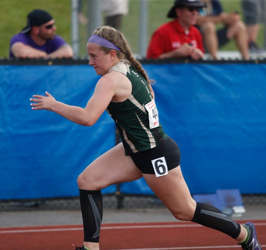 Vestal's Angelina Fahrenkrug leaves the starting line in the 4x100 Meter Relay during the New York State Track Championships in Middletown on June 7, 2019.