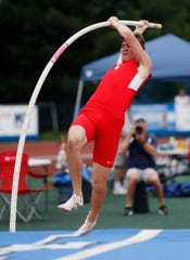 Waverly's Isaac Chandler competes in the pole vault during the New York State Track Championships in Middletown on June 7, 2019.