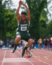 Unatego's Jacob Haqq competes in the triple jump during the New York State Track Championships in Middletown on June 7, 2019.