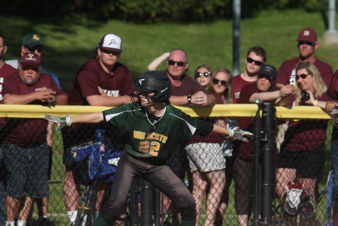 White RIver Valley's Sarah Howe rounds first base during Saturday's D-III softball championship game vs. BFA-Fairfax.