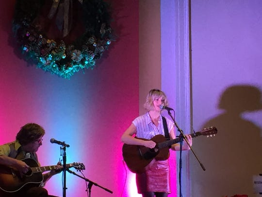 Anais Mitchell and Michael Chorney perform as part of the New Year's Eve celebration Highlight at the Unitarian Universalist Church in Burlington on Dec. 31, 2018.