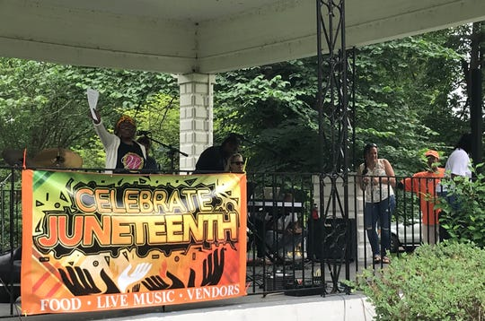 Anne Robinson talks about the history of Juneteenth during Chillicothe's first Juneteenth celebration organized by the local Women in the NAACP committee.