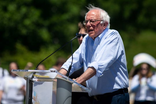 Sen. Bernie Sanders, I-Vt., speaks to the crowd during the Meet the Candidates Forum at the Capital City Pride Festival on Saturday, June 8, 2019, in Des Moines' East Village.
