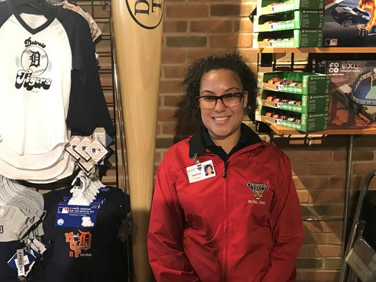 Jasmine Darby poses Saturday in Store Six, a gift shop in Comerica Park.