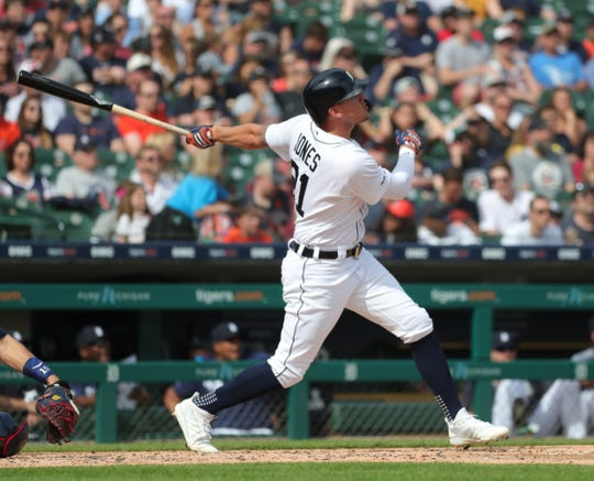JaCoby Jones homers against the Twins during the second inning Saturday at Comerica Park.