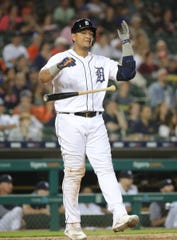 Tigers DH Miguel Cabrera reacts after making the last out of the Tigers' 6-3 loss to the Twins on Friday, June 7, 2019, at Comerica Park.