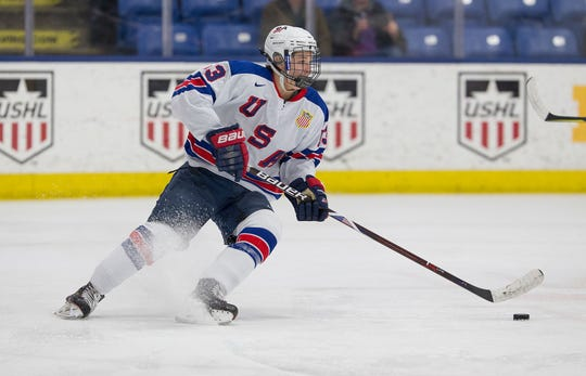 Forward Trevor Zegras of the USNTDP.