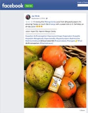 This image captured on Friday, June 7, 2019 shows a Sept. 4, 2018 post on Facebook cited by the U.S. Food and Drug Administration as promoting an e-cigarette formula without including the required nicotine warning statement.