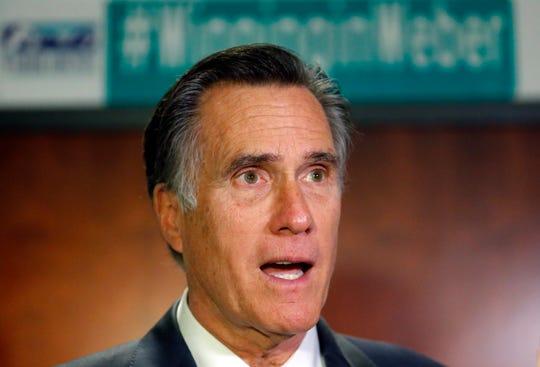 In this Jan., 18, 2019, file photo, U.S. Sen. Mitt Romney, R-Utah, speaks with reporters, in Ogden, Utah.