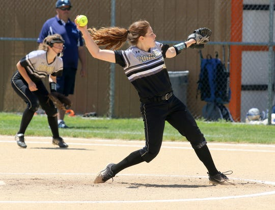 Laura Bennett on her way to a three-hitter in a 3-1 win over John Jay-East Fishkill in a Class AA softball state quarterfinal June 8, 2019 at Union-Endicott.