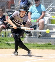 Mikayla Brucie of Corning bunts during a 3-1 win over John Jay-East Fishkill in a Class AA softball state quarterfinal June 8, 2019 at Union-Endicott High School.