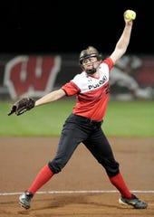 Pulaski's Lauren Dixon (25) winds up a pitch to Sun Prairie at the state tournament in June.