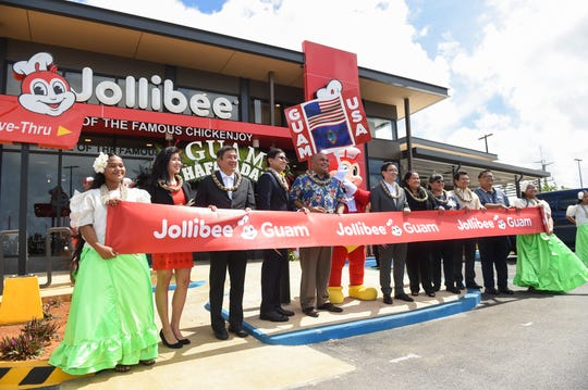 Jollibee corporate officials and Guam dignitaries attend the restaurant franchise's official inauguration in Dededo on June 8, 2019. From left: Anieva Cepeda, Franceen Chua, Heavenly Foods Inc. managing director, Joseph Chua, Goodwind Development Corporation president, Dennis Flores, Jollibee Foods Corporation president and head of international business for EMEAA, Lt. Gov. Josh Tenorio, Jollibee, Ernesto Tanmantiong, Jollibee Foods Corporation chief executive officer, Speaker Tina Muna Barnes, Dededo Mayor Melissa Savares, Marciano de Borja, Philippine Consulate General in Agana, Alex Gagaring, Jollibee restaurant manager, and Zway Francisco.