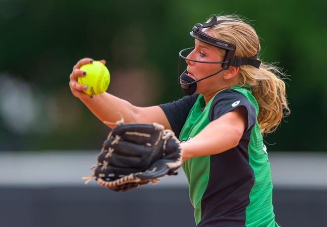 FILE – Kaelyn Shively struck out seven in Bremen's 2-1 win over Tecumseh on Saturday in the Class 2A softball state title game.