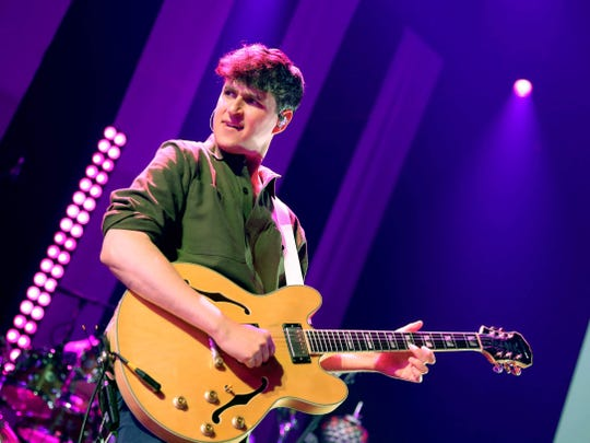 Vocalist-guitarist Ezra Koenig is pictured during a May 9 performance in Los Angeles.