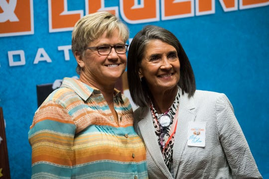 Former Lady Vols coach Holly Warlick, poses for a photo with Mickie DeMoss at the Holiday Inn in downtown Knoxville, Friday, June 7, 2019.