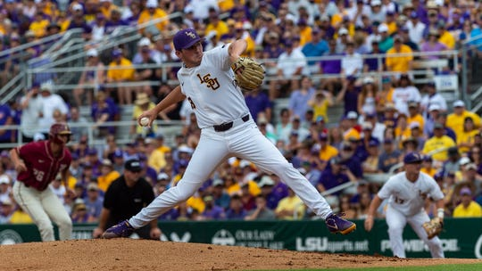 Cole Henry on the mound as The LSU Tigers take on the Florida State Seminoles in the 2019 NCAA Baton Rouge Super Regional.. Saturday, June 8, 2019.