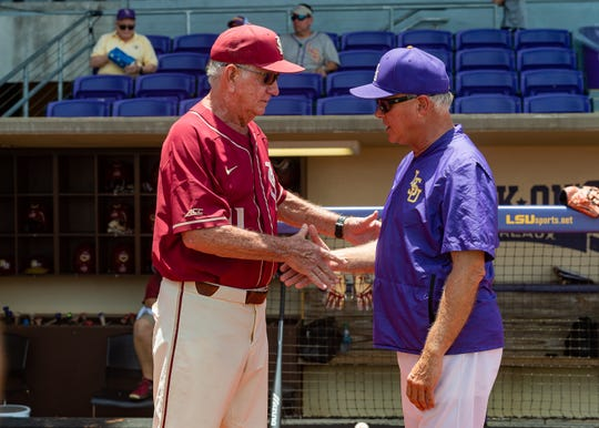 Seminoles Head Coach Mike Martin and Tigers Head Coach Paul Mainieri shaking hands before game. The LSU Tigers take on the Florida State Seminoles in the 2019 NCAA Baton Rouge Super Regional.. Saturday, June 8, 2019.