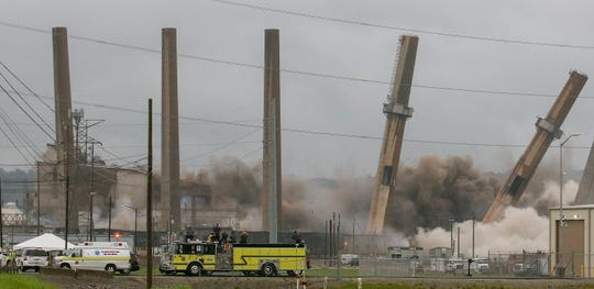 LG&E's Cane Run power generating station was imploded on Saturday June 8, 2019 in Louisville, Ky. The coal-fired facility generated power for 61 years and was last used in 2015.