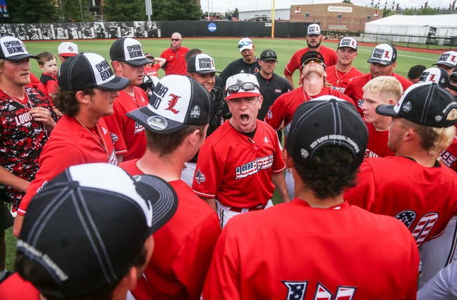 The Louisville baseball team, pictured here after winning a Super Regional in 2019, must await its NCAA Tournament fate on Monday.