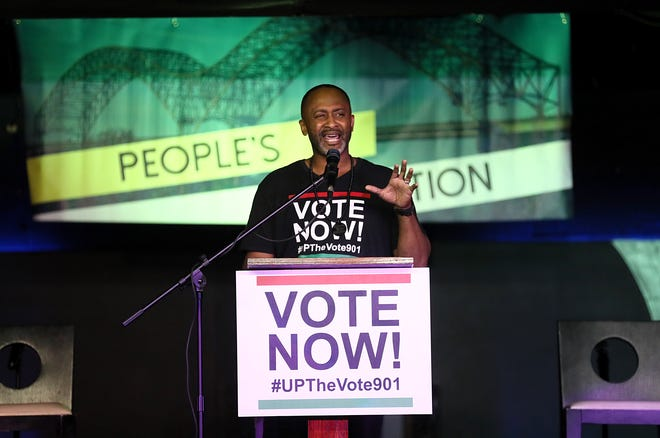 Up the Vote organizer Earle Fisher speaks during their Memphis People's Convention at the Paradise Entertainment Center Saturday, June 8, 2019.