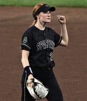 Oshkosh North pitcher Sydney Supple is pumped up after escaping a jam during a 4-0 win over Kenosha Bradford in a state semifinal in June.