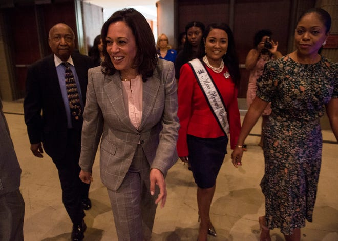 2020 Presidential candidate Sen. Kamala Harris (D-Ca.) enters the room during the Alabama Democratic Conference convention at the Renaissance Hotel in Montgomery, Ala., on Saturday, June 8, 2019.