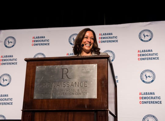 2020 Presidential candidate Sen. Kamala Harris (D-Ca.) speaks during the Alabama Democratic Conference convention at the Renaissance Hotel in Montgomery, Ala., on Saturday, June 8, 2019.