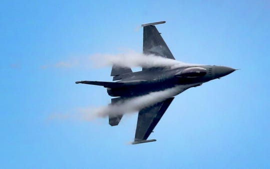 An F-16 with the U.S.A.F. F-16 Viper Demo Team performs during The Great Tennessee Air Show on Saturday, June 8, 2019, at the Smyrna Airport.