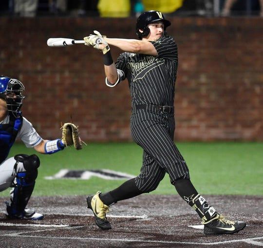 Vanderbilt right fielder JJ Bleday (51) singles in the bottom of the first inning against Duke in the NCAA Division I Baseball Super Regionals at Hawkins Field Friday, June 7, 2019, in Nashville, Tenn.