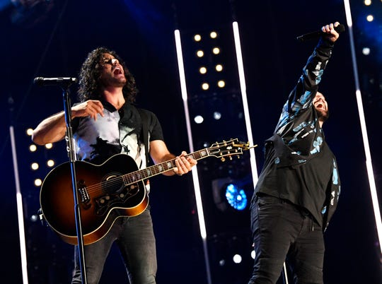 Dan + Shay perform during the 2019 CMA Fest Friday, June 7, 2019, at Nissan Stadium in Nashville, Tenn.