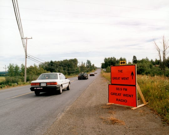 A sign directs motorists to Phish's second festival, 'The Great Went,' in 1997.