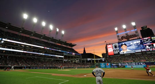 The New York Yankees play the Cleveland Indians in the eighth inning of a baseball game Friday, June 7, 2019, in Cleveland.