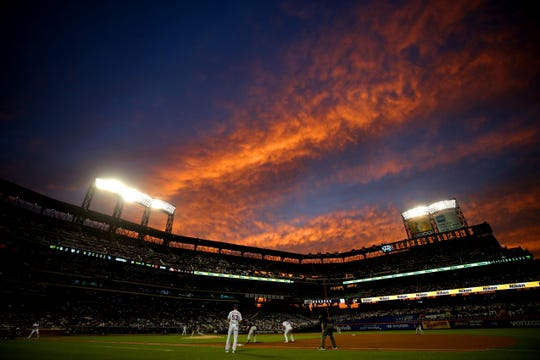 Jun 7, 2019; New York City, NY, USA; Sunset is seen over Citi Field during the fourth inning between the New York Mets and the Colorado Rockies.