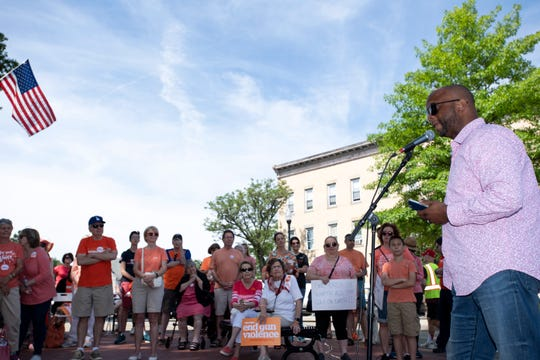 Pastor Lem Brown speaks during a Gun Violence Awareness Rally in Ridgewood on Saturday, June 8, 2019.