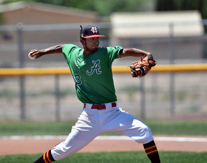 Fernando Loera from Centennial High School took the mound in the third game of this weekend's New Mexico All-Star Baseball Classic held at Field of Dreams.