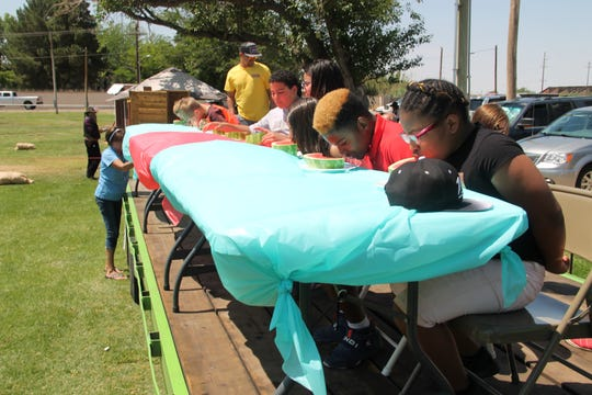 Among the many activities at the first annual Alamogordo Founders Day Celebration was a watermelon eating contest.  The event was put on by the Tularosa Basin Historical Society took place at Alameda Park Saturday, June 8.