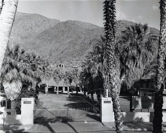 June 1966 images of the gates of the Desert Inn with a sign announcing its impending demolition.