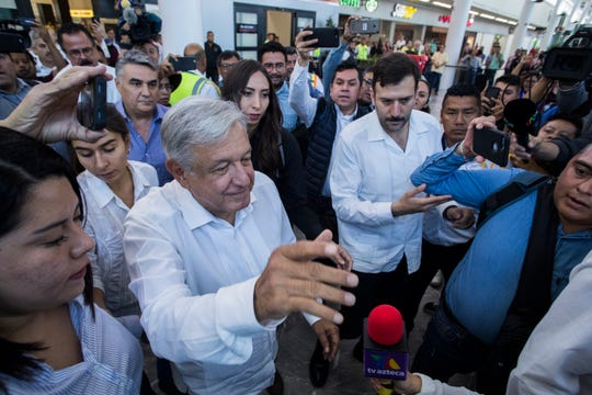 Mexican president Andrés Manuel López Obrador arrives at the Tijuana Abelardo L. Rodriguez International Airport Saturday afternoon. López Obrador is visiting the border city to attend an event celebrating an agreement with the United States that ended the Trump administration's threat of imposing tariffs on all Mexican imports.