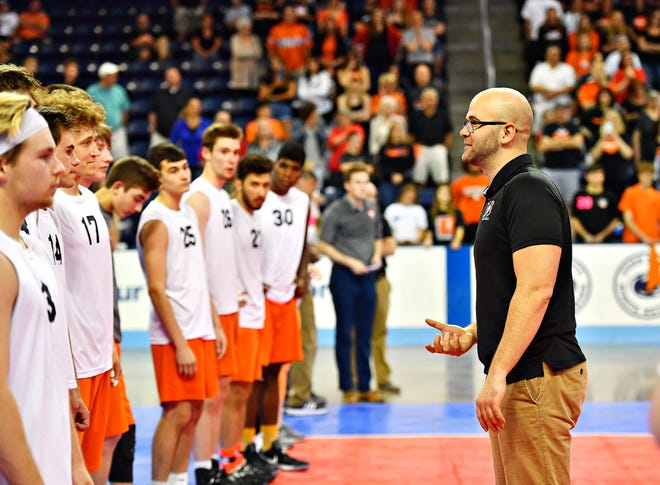 York Suburban boys' volleyball head coach Oliver Good is seen here addressing his players following the PIAA Class 2-A championship match at Penn State in 2019. The Trojans lost that match to Meadville, 3-2. Suburban gets another shot at Meadville in the 2021 state semifinals on Tuesday in Altoona. Dawn J. Sagert photo