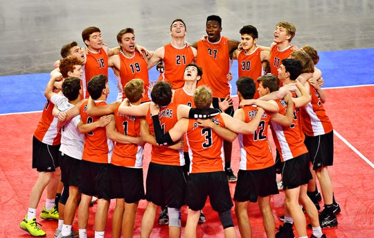 Central York vs North Allegheny during PIAA Class 2-A boys' volleyball championship action at Pegula Ice Arena in State College, Saturday, June 8, 2019. Dawn J. Sagert photo