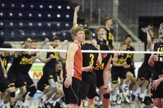 Braden Richard looks off the court after North Allegheny's bench erupts following a block in Game 2 of the PIAA Class 3A boys' volleyball championship Saturday, June 8, 2019 at Pegula Ice Arena in State College.