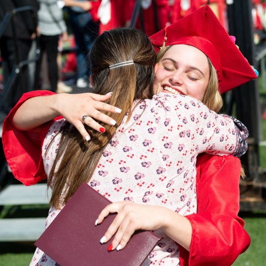Dover Area High School students celebrate graduation, Saturday, June 8, 2019.