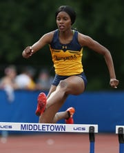 Spencerport's Vanessa Watson running in the 400 meter Hurdles at the New York State Track Championships in Middletown on June 7, 2019.