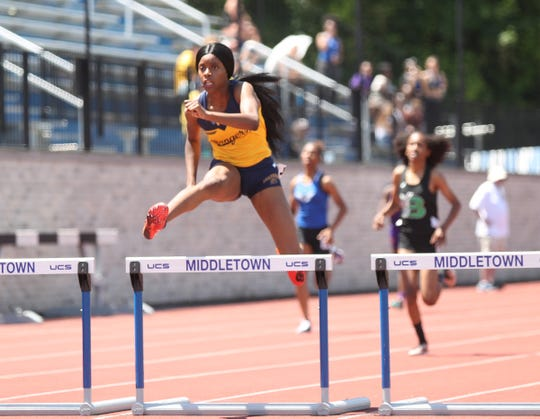 Spencerport's Vanessa Watson competes in the 400-meter hurdles at the NYSPHSAA Track & Field Championships ar Middletown High School in  Middletown on Saturday, June 8, 2019.