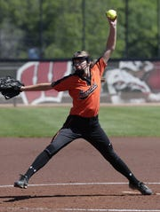 Mishicot's Megan Junk winds up a pitch against Horicon on Saturday at the state tournament in Madison.