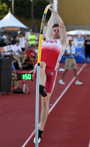 Jun 5, 2019; Austin, TX, USA; Chris Nilsen of South Dakota wins the pole vault in a meet-record 19-6 1/4 (5.95m) during the NCAA Track & Field Championships at Mike A. Myers Stadium. Mandatory Credit: Kirby Lee-USA TODAY Sports